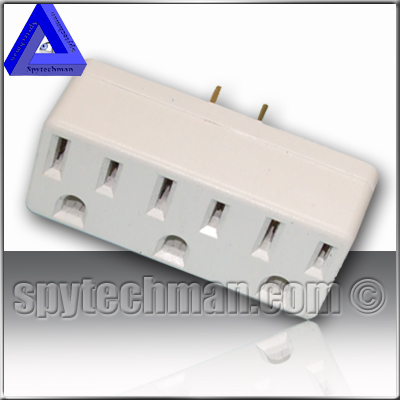 110V BUG SPY Transmitter in TRIPLE OUTLET ELECTRIC WALL 3 WAY TAP POWER ADAPTER